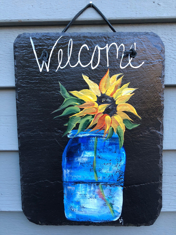 Sunflower Slate Welcome Plaque, Spring Door Hanger, Wall hanging