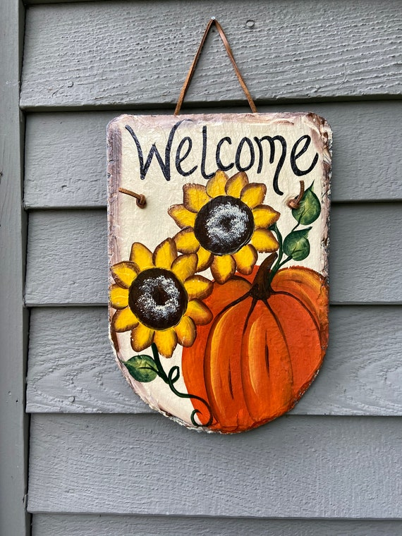Painted slate, Pumpkin & sunflowers slate plaque, Porch Decor, Fall welcome plaque, Hand Painted slate sign, welcome sign, Sunflower sign