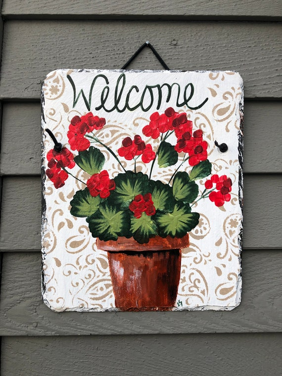Slate Welcome sign, Spring slate sign, Summer door hanger, Spring Door decoration, painted slate, Front Door decoration, welcome Slate Sign,