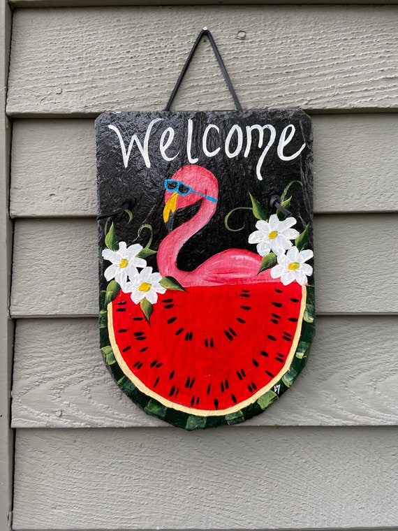 Slate Plaque, Hand painted Flamingo welcome sign, Painted slate, Slate sign, summer sign, Summer door hanger, welcome plaque, deck decor