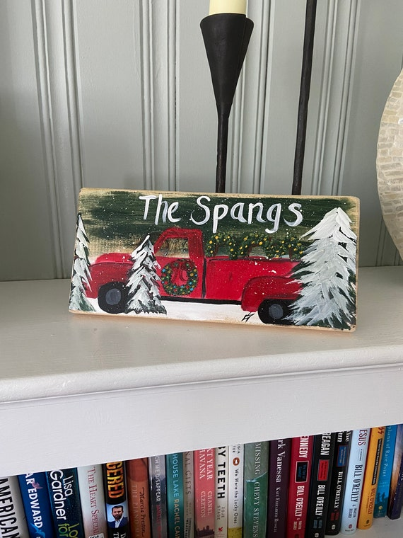 Painted wood Christmas red truck sign, Country Christmas sign, Red Truck wall hanging, Christmas Truck shelf sitter, Wood Christmas painting