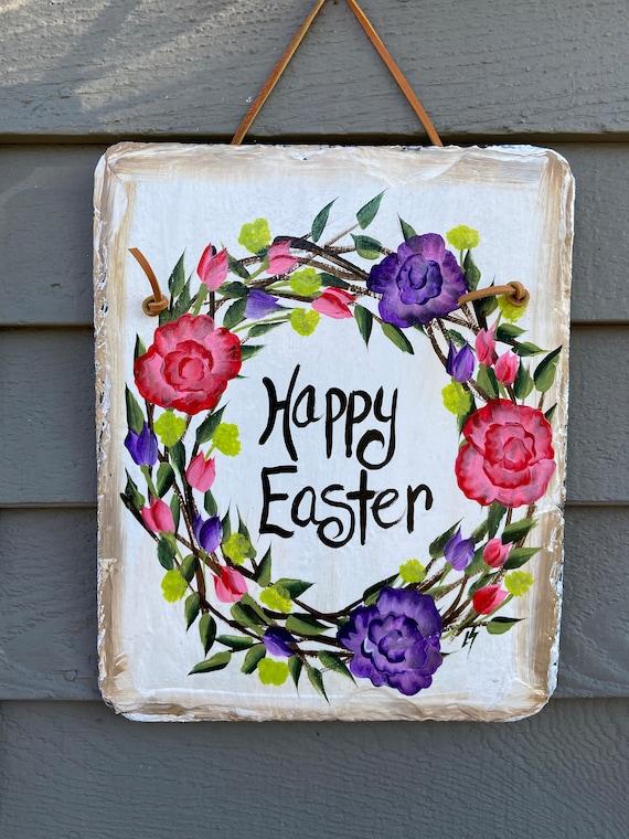 Easter Slate Sign, Painted slate, Easter Decor, Easter Door Hanger, spring welcome sign, Slate welcome sign, Spring door decor, Spring sign