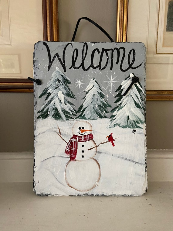Snowman slate sign, winter slate welcome sign, snowman slate tile, winter door hanger, painted slate, welcome sign, winter welcome plaque
