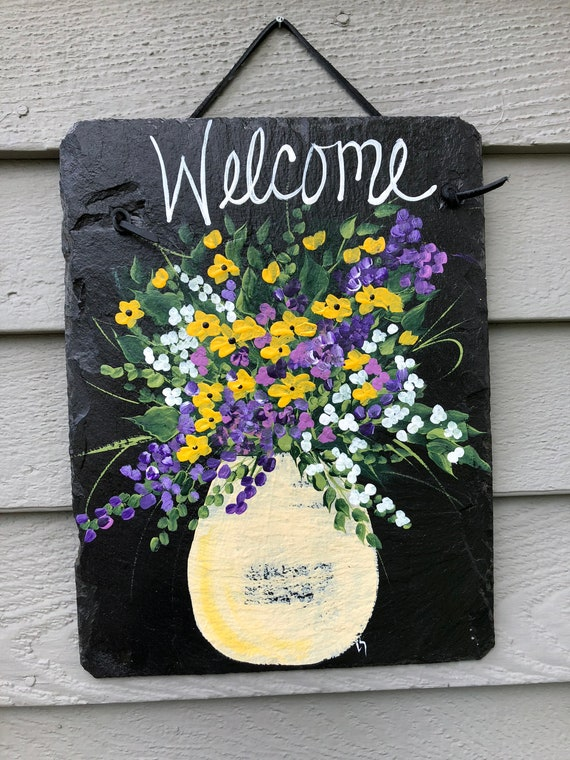 Welcome Sign, Painted Slate, Front door decor, Slate door hanger, spring door hanger, Front Door decor, Garden decor, mom gift, porch decor