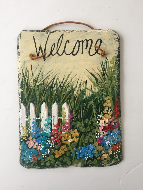 Spring Painted Slate welcome sign, Spring door hanger, Garden Decor, welcome plaque, welcome sign, porch decor, painted slate, slate sign