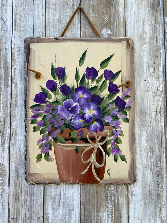 Slate plaque, Hand Painted Slate Sign, Floral sign, Garden decor, outdoor decor, deck decor, Door decor, painted slate sign, garden plaque