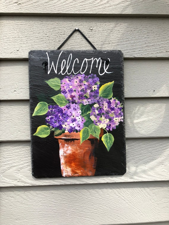 Painted Slate welcome sign, Purple hydrangeas Welcome sign , welcome plaque, Spring door hanger, Slate welcome sign, Spring welcome sign
