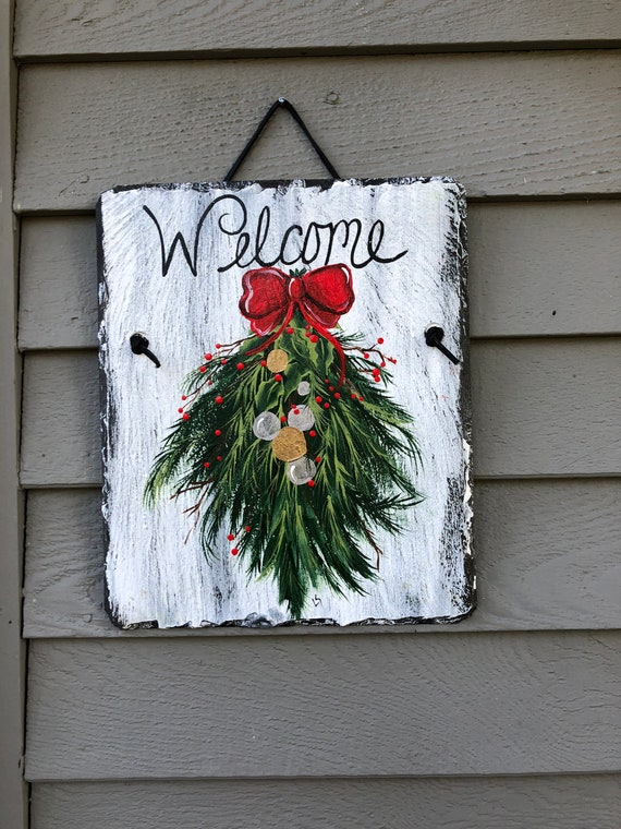 Christmas sign, Christmas Swag Welcome sign, Christmas Door hanger, Painted Slate, Slate Sign, Christmas sign, personalized sign