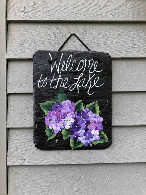Welcome to the Lake sign, Summer door hanger, door decor, Lake House decor, porch decor, Lake House sign, Purple hydrangeas, welcome sign