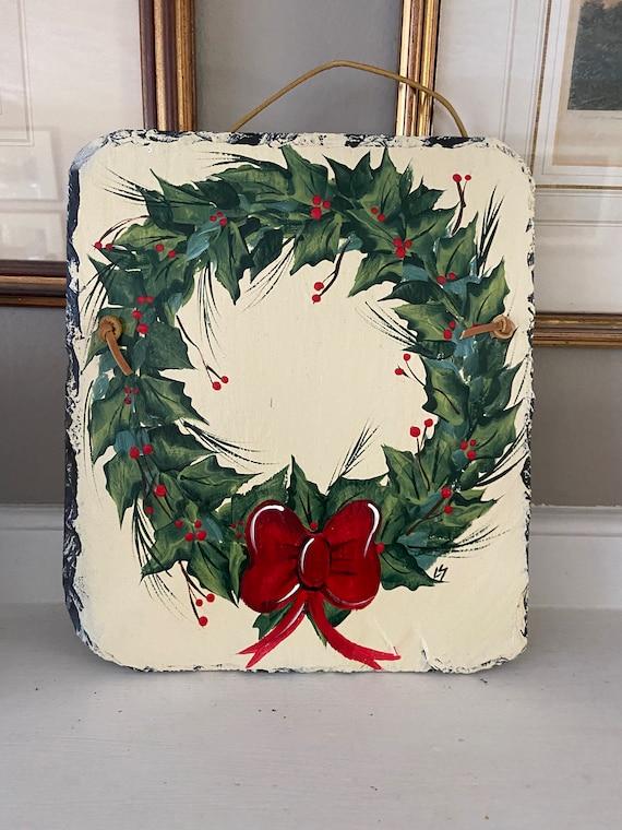 Christmas wreath Slate sign, Winter slate sign, Painted slate tile, Slate Sign, door hanger, Christmas slate, Slate plaque, Decorative tile