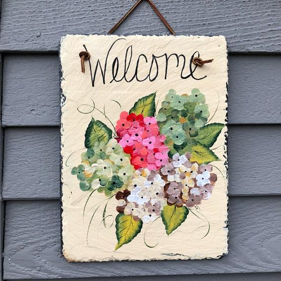 Hand Painted slate welcome sign, Summer door decor, Hydrangeas Door hanger, Outdoor Summer decor, Hydrangeas, Spring door hanger, door sign