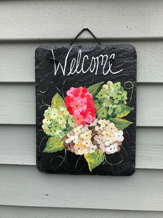 Spring slate sign, Hydrangeas Slate Welcome sign, Summer door decor, Outdoor Summer decor, Hydrangeas, Spring door hanger, Welcome plaque