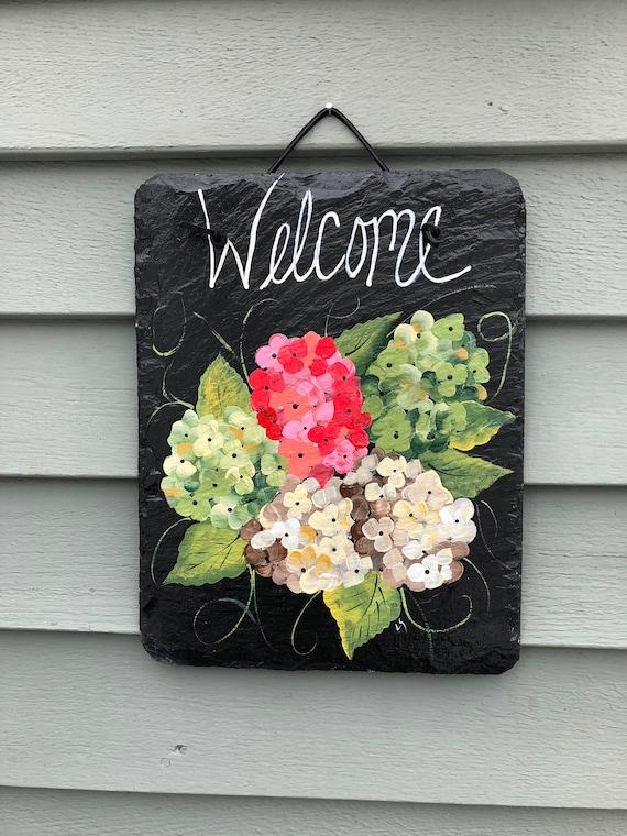Hydrangeas Slate Welcome sign, Summer door decor, Outdoor Summer decor, Hydrangeas, Spring door hanger, Front Door decoration, door sign