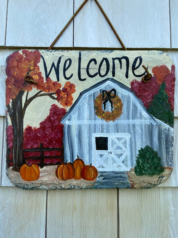 Fall Barn slate sign, welcome plaque, Fall door hanger, Pumpkin slate, Fall sign, Fall welcome sign, Painted slate, slate sign, porch decor