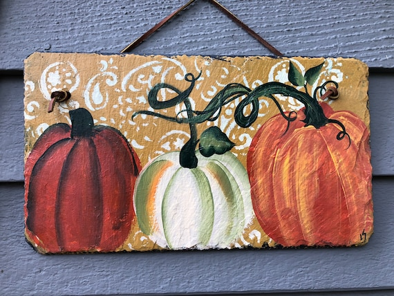 Pumpkins painted slate, Autumn door hanger, Fall Porch Decor, 6x12 Painted Slate wall hanger, Fall decoration, Thanksgiving decor