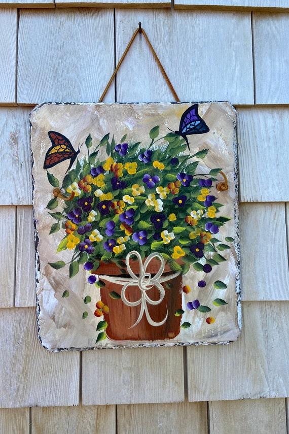 Garden sign, painted slate sign, painting on slate, Painted slate, Slate sign, Summer door hanger, Garden decor, porch decor, deck decor