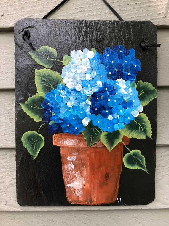 Painted Slate, Blue Hydrangeas door decoration, Spring door decor, painted slate, porch decor, cottage decor, coastal decor 10 x 12 slate