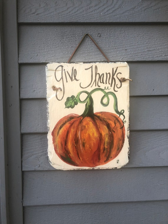 Give Thanks slate sign, Thanksgiving decor for your door, Autumn door hanger, Fall door decor, welcome sign, Fall decor, Painted slate