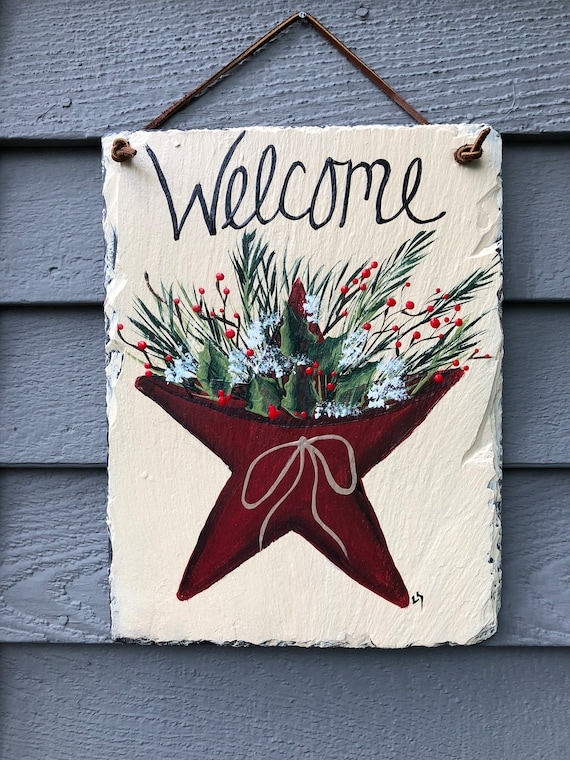 Christmas slate sign, Painted slate, Winter porch decor, Winter door hanger, Winter welcome sign, Painted Slate, Christmas sign, Slate sign