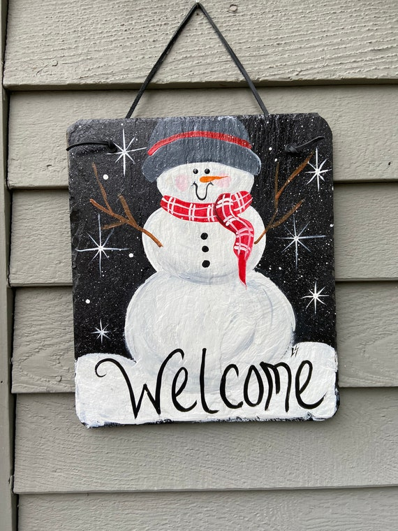 Snowman slate sign, winter slate sign, winter door hanger, Snowmen plaque, Winter sign, Hand Painted slate, Winter porch decor, slate tile