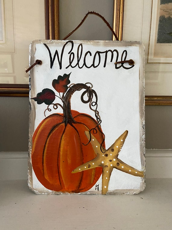 Pumpkin welcome sign, Seaside pumpkin, slate sign, coastal  slate tile, Fall door hanger, painted slate, painting on slate, porch decor