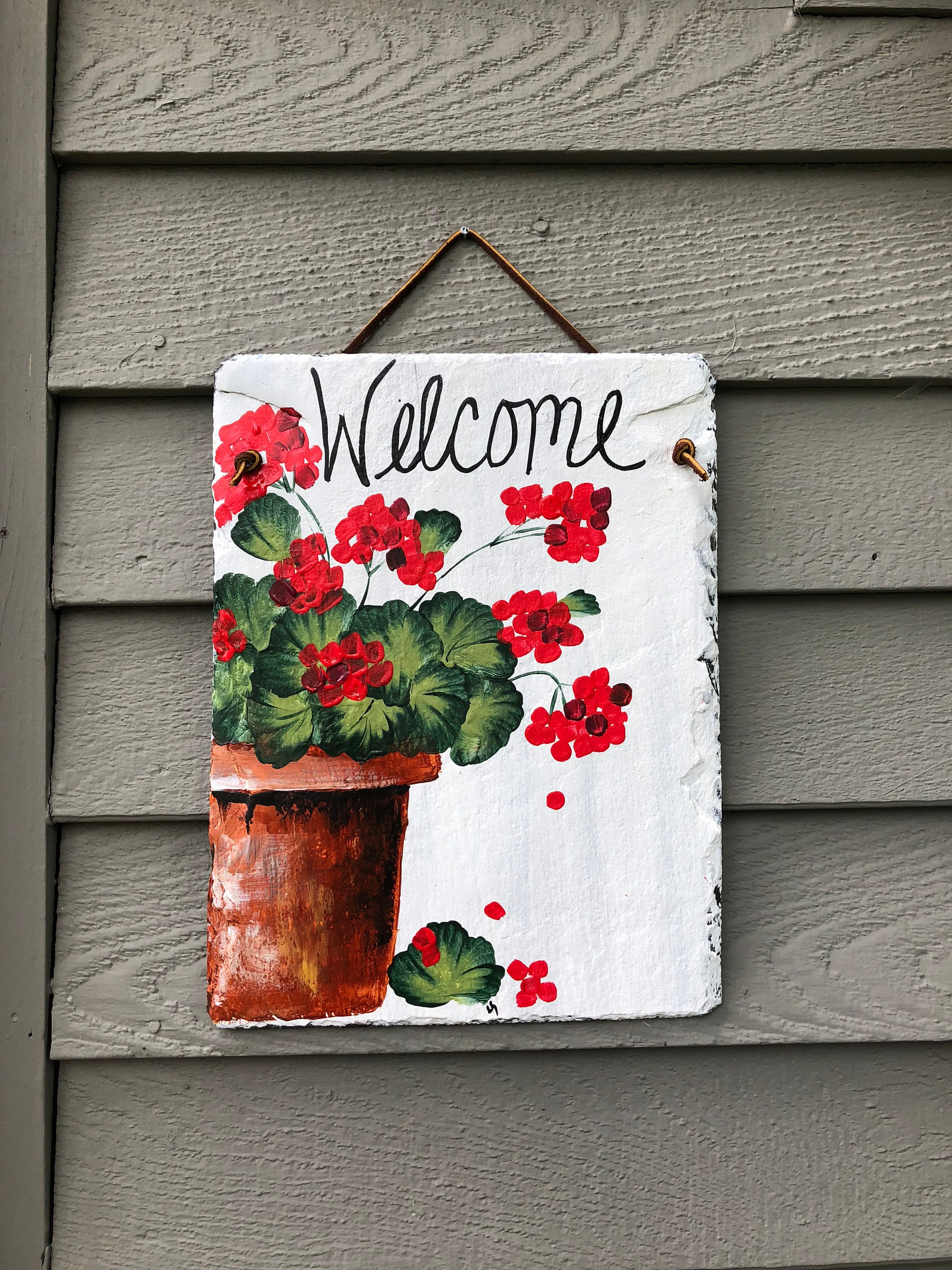 Hand Painted Slate Welcome Sign, Red Geraniums Welcome ...