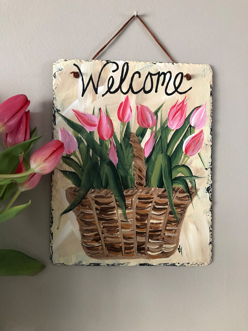 Spring door decor welcome Mother/'s Day gift welcome plaque door hanger Easter Decor Tulips Welcome Sign Painted Slate welcome sign