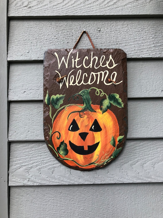 Halloween Sign, Slate sign, Witches Outside halloween decor, Door decor, Jack-O-Lantern Door hanger, Halloween decorations, Painted Slate