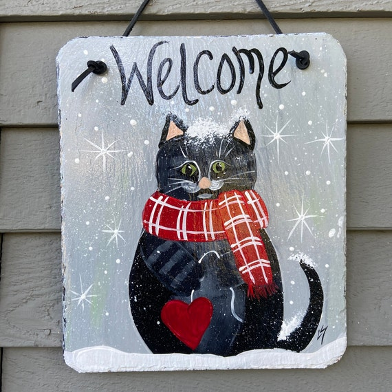 Winter slate sign, Painted slate tile, welcome plaque, Winter cat door hanger, Winter sign, Painted slate, slate sign, porch decor, Cat sign