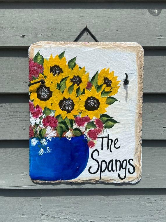 Hand Painted Slate plaque, door hanger, Sunflowers Welcome sign, Garden decoration, outdoor decor, deck decor, painted slate, slate sign