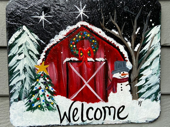 Hand Painted Winter Slate, Christmas Welcome sign, Winter door hanger, Winter Slate Sign, Slate sign, Christmas slate, Slate welcome plaque