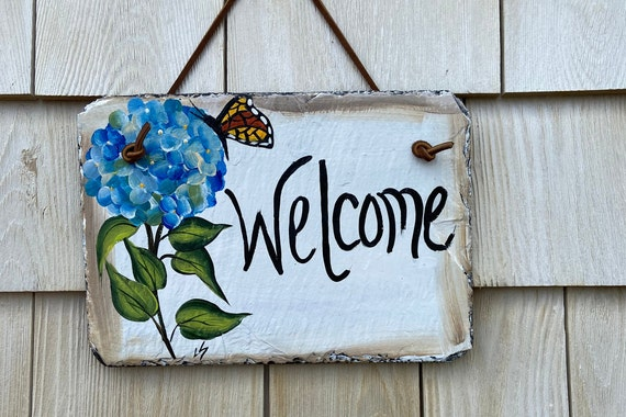 Painted slate welcome sign, garden slate sign, Hydrangea welcome plaque, Porch decor, door hanger, small slate welcome sign, garden decor