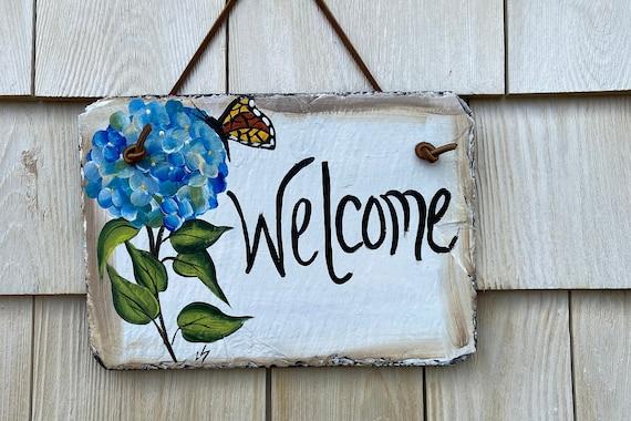Painted slate welcome sign, garden slate sign, Hydrangea welcome plaque, Porch decor, door hanger, small slate welcome sign, garden decor