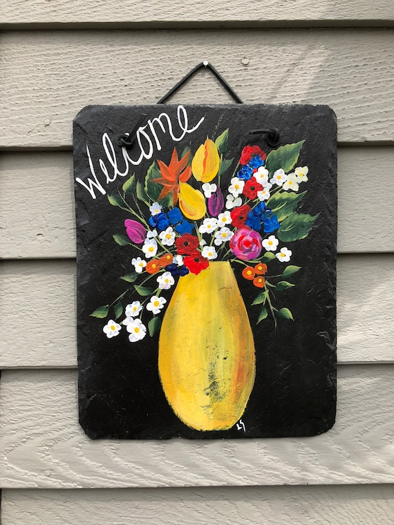 Spring Flowers Welcome Sign, Spring decor, Spring door hanger, Hand painted slate plaque, welcome sign, gift for mom, mothers gift
