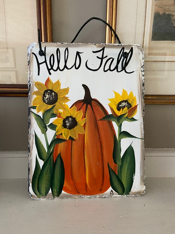 Pumpkin and sunflowers welcome sign, Thanksgiving decor, Pumpkin slate tile, Fall door hanger, painted slate, painting on slate, porch decor