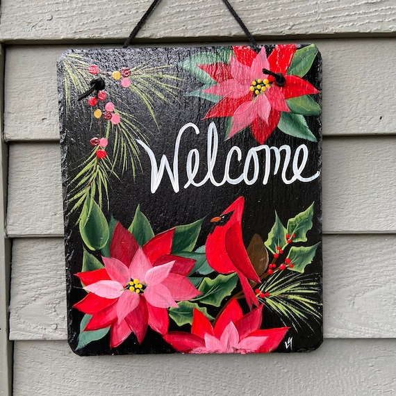 Painted Christmas slate tile, Christmas plaque, door hanger, Christmas door hanger, Poinsettias and cardinal, Painted slate, slate sign