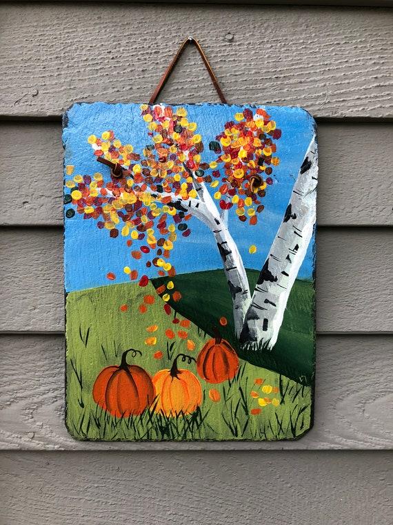 Hand Painted Fall slate Decoration, Yard Art, Garden hanger, Fall door hanger, sunflower decor, Garden decor, Fall decor, Fall Outdoor decor