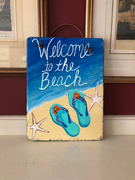 Summer Door hanger, Door decorations, Welcome to the Beach welcome sign, Beachy, Beach house decor, Coastal decor, Beach wall hanging
