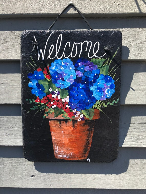 Hand Painted Slate, Welcome sign, 12 x 10  painted Slate, Door hanger, Hydrangeas Welcome sign, Front Door decoration, door sign