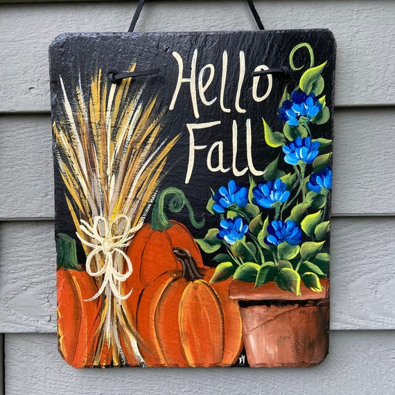 Painted Fall slate plaque, welcome plaque, door hanger, Fall slate sign, Fall sign, welcome sign, Painted slate, slate sign, porch decor