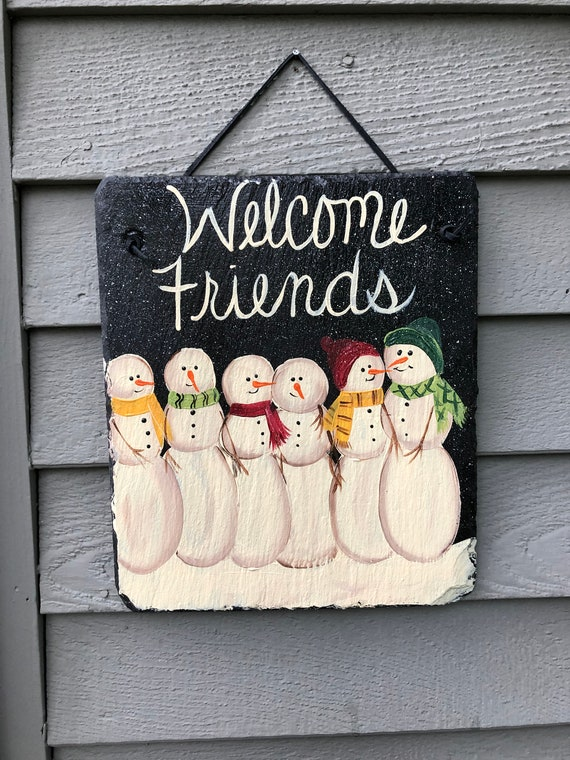slate sign, winter slate welcome sign, Primitive snowman sign, winter door hanger, painted slate, welcome sign, winter welcome plaque