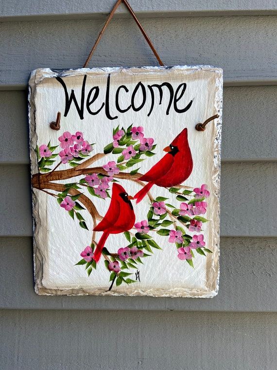 Hand Painted Cardinal Slate sign, Spring Welcome sign, Front door Slate, Spring Slate Sign, door hanger, Spring slate, Slate welcome plaque