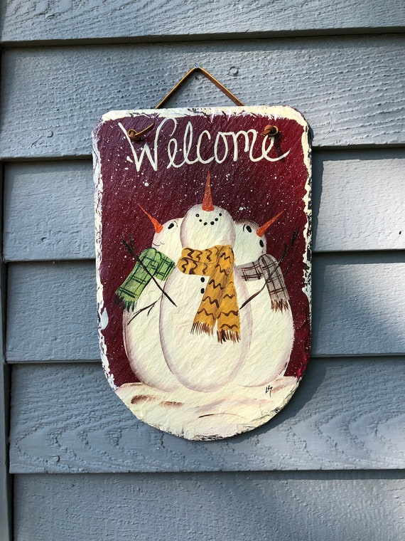Painted Slate Sign, Slate sign, Primitive snowman, winter sign, Winter welcome sign, Welcome plaque, Snowman door hanger, Winter decor,