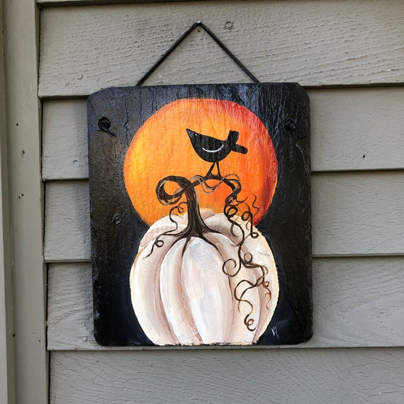 Slate Sign, Fall decor, Personalized Slate sign, painted slate, Fall sign, Fall plaque, Fall door hanger, Autumn sign, Halloween decor