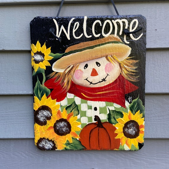 Scarecrow Painted slate tile, welcome plaque, door hanger, slate sign, Fall sign, welcome sign, Painted slate, Fall slate sign, porch decor