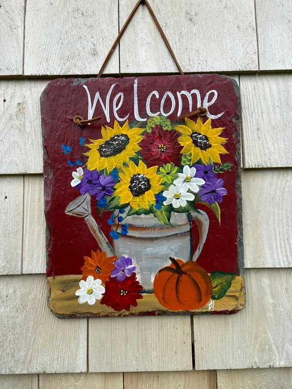 Fall porch decor, Painted slate tile, Fall pumpkin welcome plaque, door hanger, Fall slate sign, Painted slate, slate sign, Fall sign