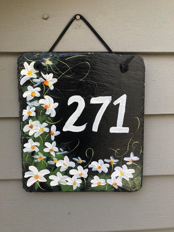House Number sign, Garden decor, Custom Hand Painted Slate Address Sign, Daisies House number plaque, Door hanger, Address plaque