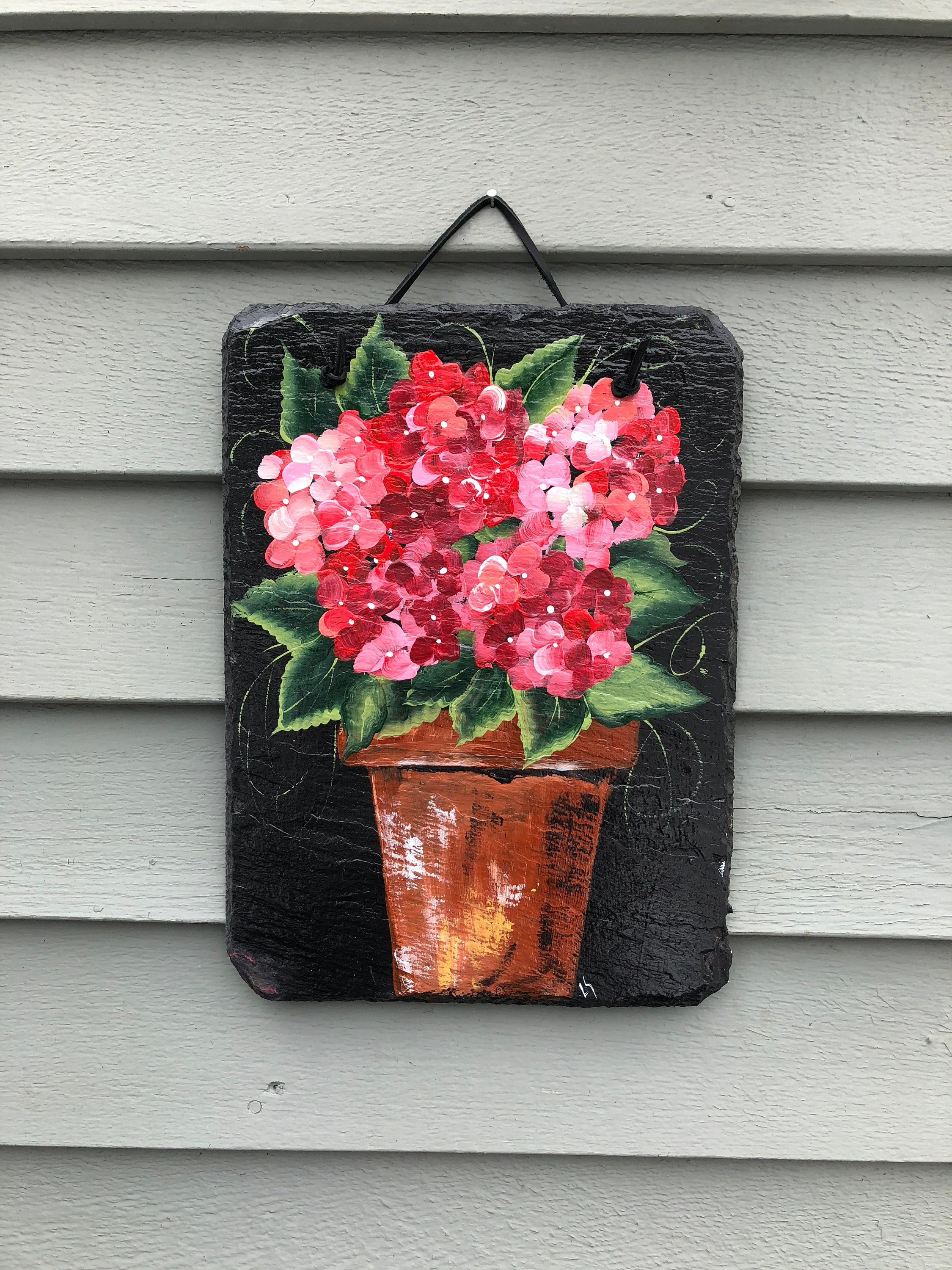 Pink Hydrangea Slate Garden Decoration Spring Flowers Door Decor