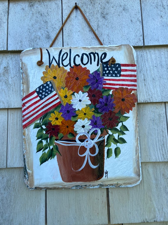 Fall welcome sign, Fall slate plaque, welcome plaque, door hanger, Fall slate sign, Fall sign, welcome sign, slate sign, Fall porch decor