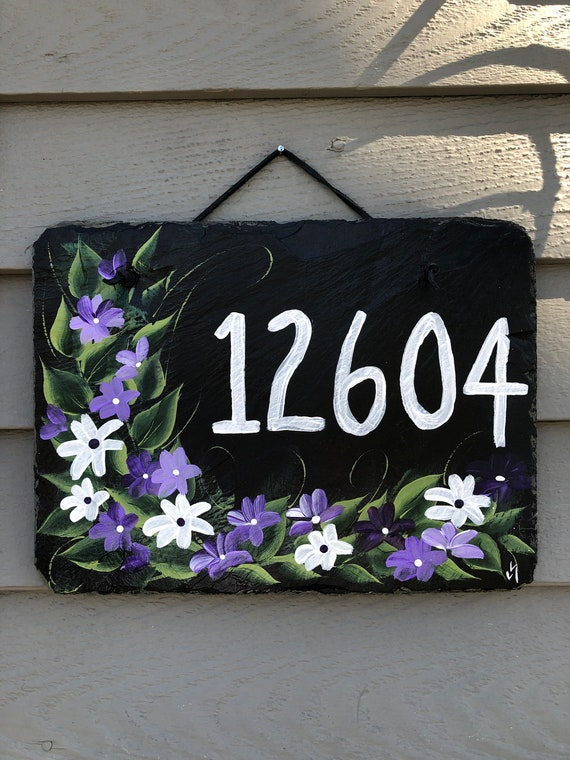 Spring House Number Sign, Painted Slate address sign, Tulips Welcome Sign, House number plaque, door hanger, Painted slate, House number